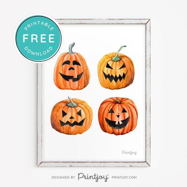 Watercolor Jack O' Lantern Faces • Halloween Pumpkin Decor • Printable Wall Art • Instant Download