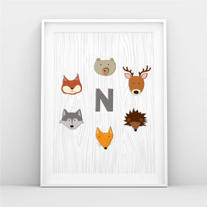 Woodland Baby Boy Monogram Nursery Photo Paper Poster Art