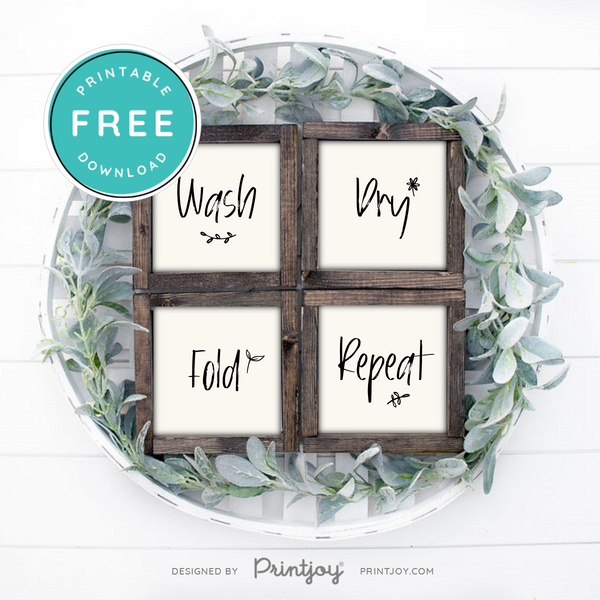 Wash Dry Fold Repeat • Laundry Room • Set Of 4 • Modern Farmhouse • Wall Art Decor • Free Printable • Ivory - Printjoy