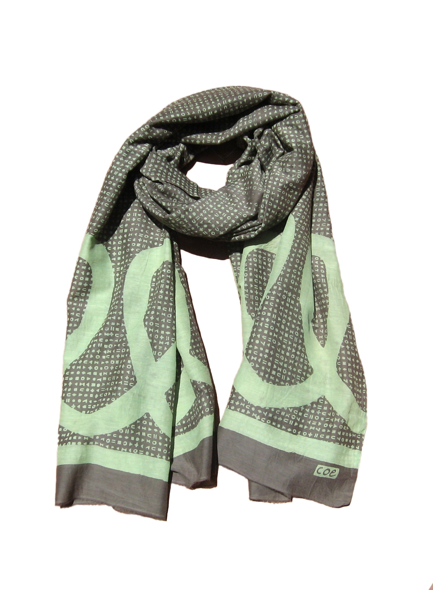 Symbols & Scribbles Scarf in Green