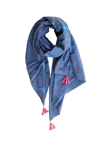 Spaced Out Weiner Dog Scarf in Indigo