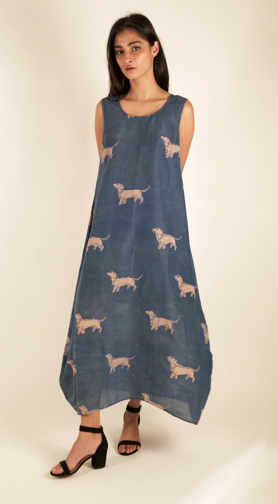 Spaced Out Weiner Dog Dress in Indigo