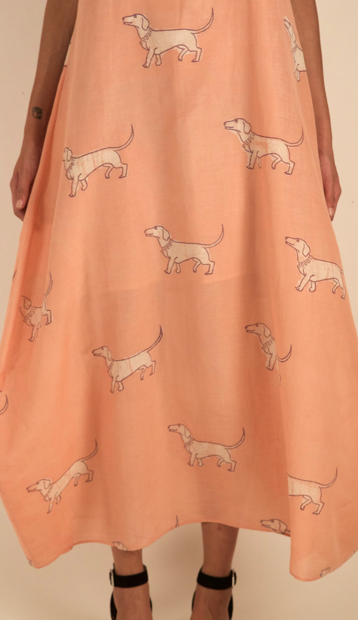 Spaced Out Weiner Dog Dress in Pink