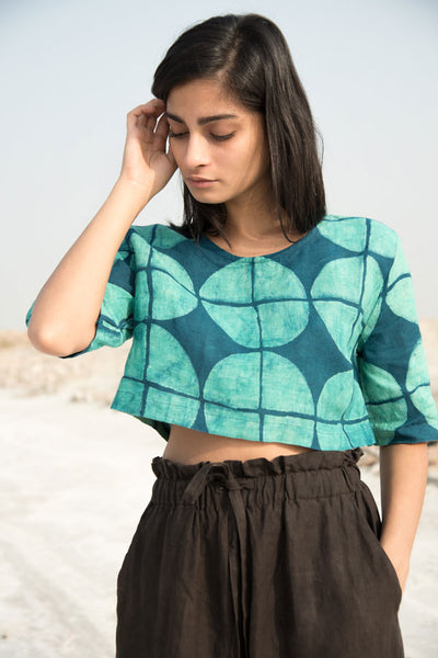 Geo Crop Top in Turquiose