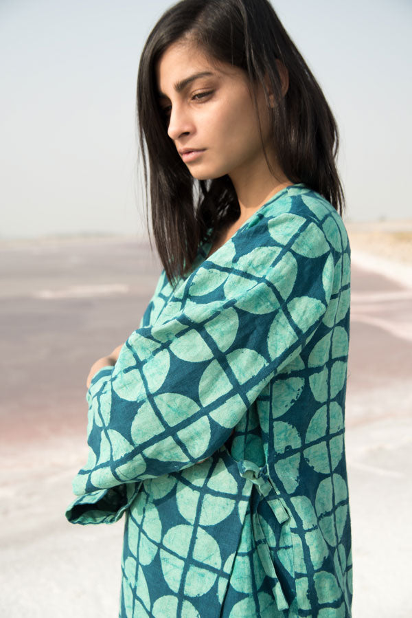 Geo Side Tie Tunic in Turquoise