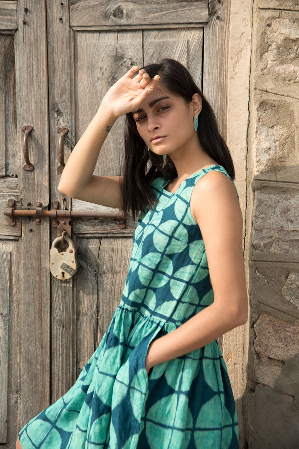 Geo Dress in Turquoise