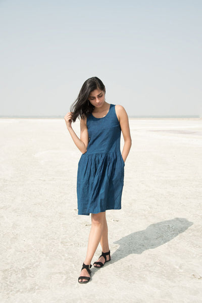 Indigo Gathered Dress
