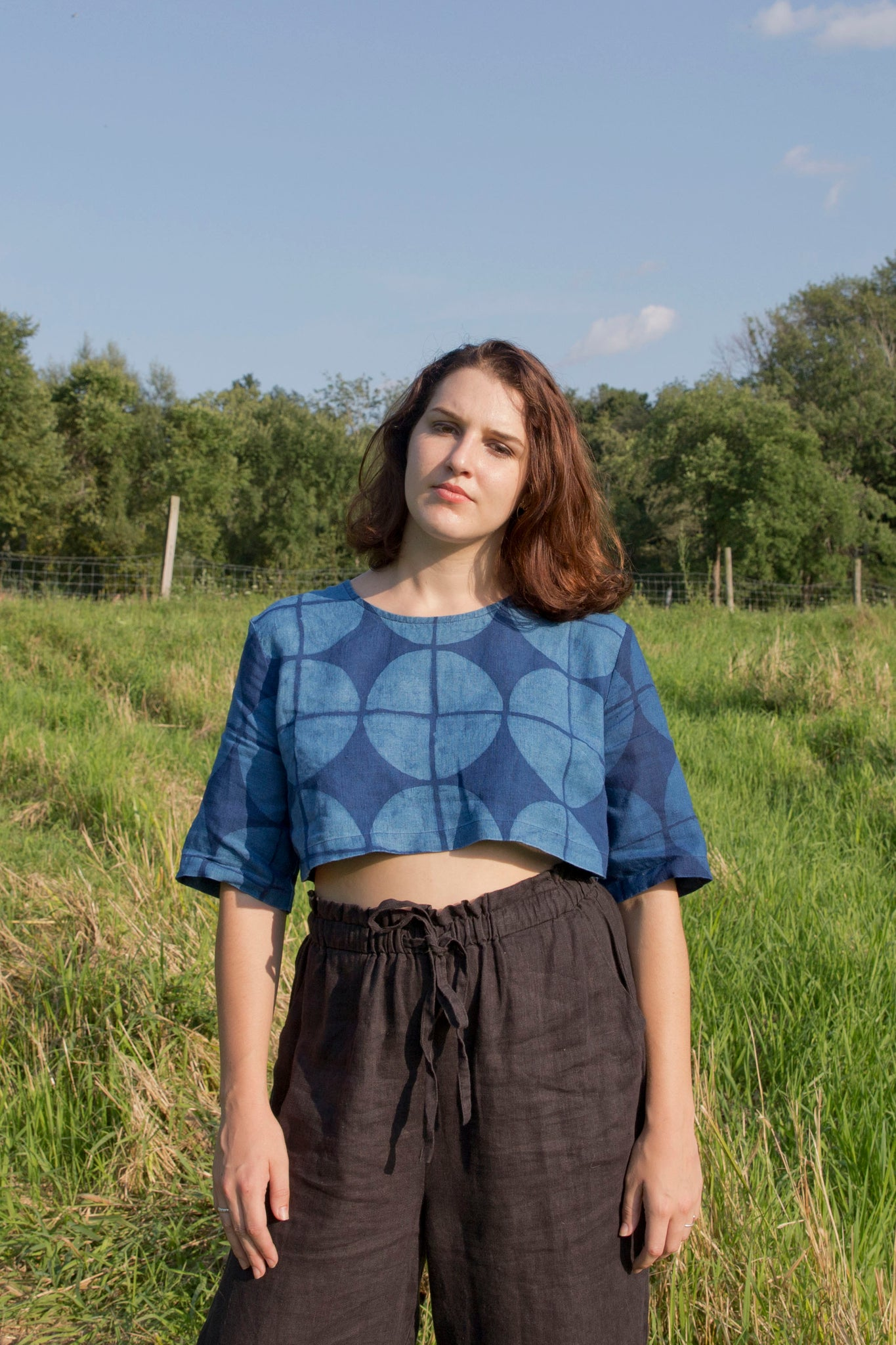 Geo Crop Top in Indigo