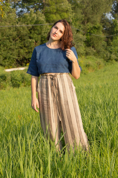 Indigo Linen Crop Top