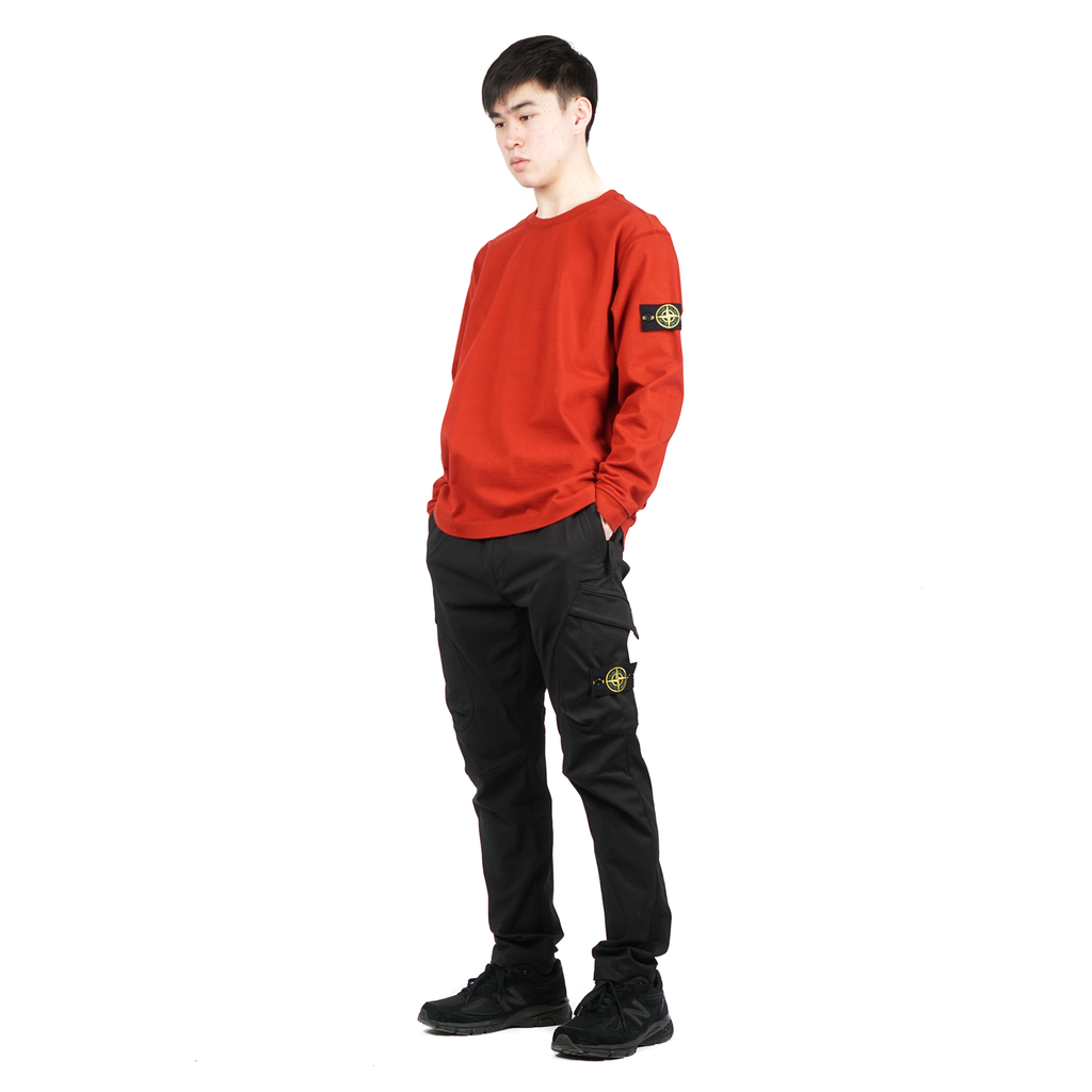 "LONG-SLEEVED T SHIRT COTTON JERSEY ""BRICK RED"""