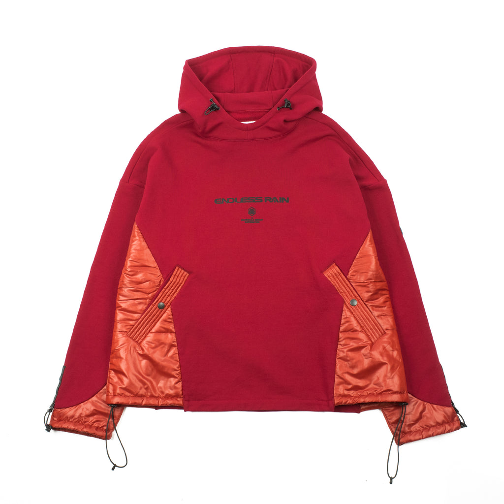 "ES-TH01 DISPLACEMENT PADDED HOODY ""RED"""
