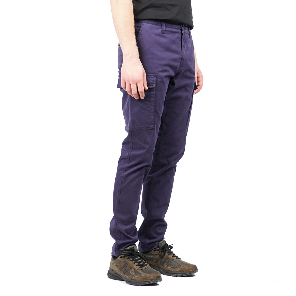 "GARMENT DYED CARGO TROUSERS IN STRETCH GABARDINE ""EGGPLANT"""