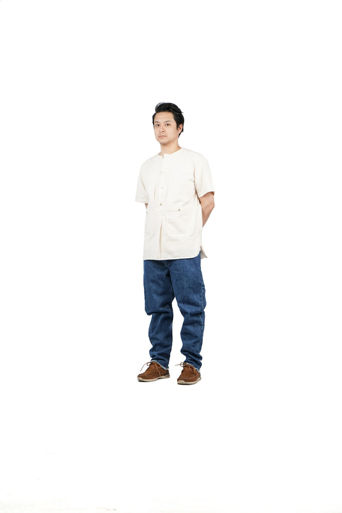 "HERRINGBONE FIELD SHORT SLEEVE ""ECRU"""