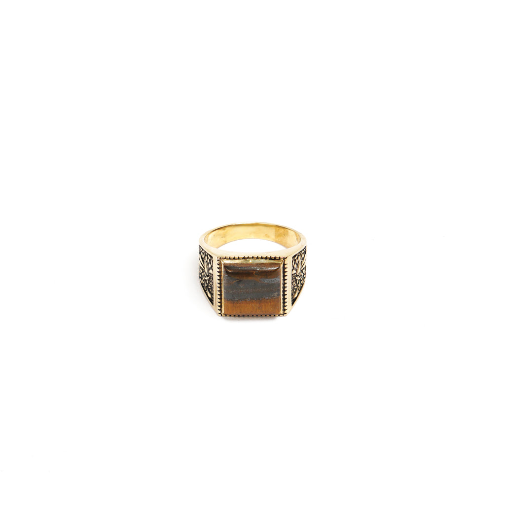 BUICK RING (14K GOLD PLATED/TIGER EYE)