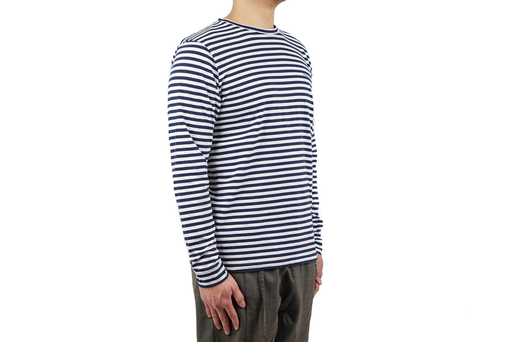 "JAMES LOGO STRIPE LS ""WHITE/NAVY"""