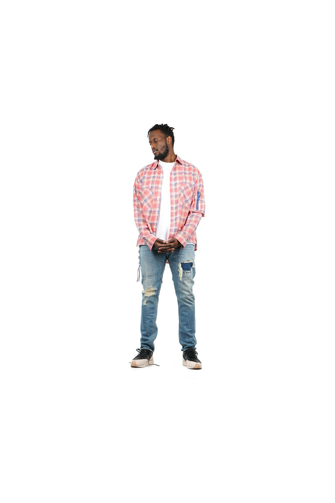 "RAGLAN BOMBER POCKET LONG SLEEVE ""POPPY PLAID"""