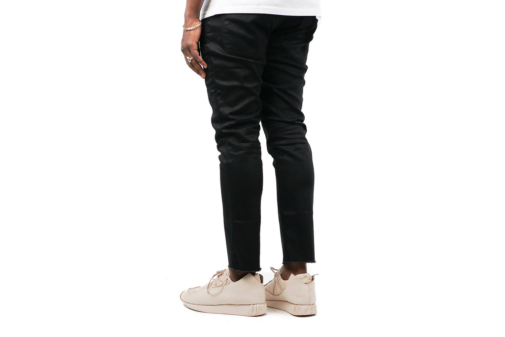 "RESIN SLIM FIT CROPPED DENIM ""BLACK"""