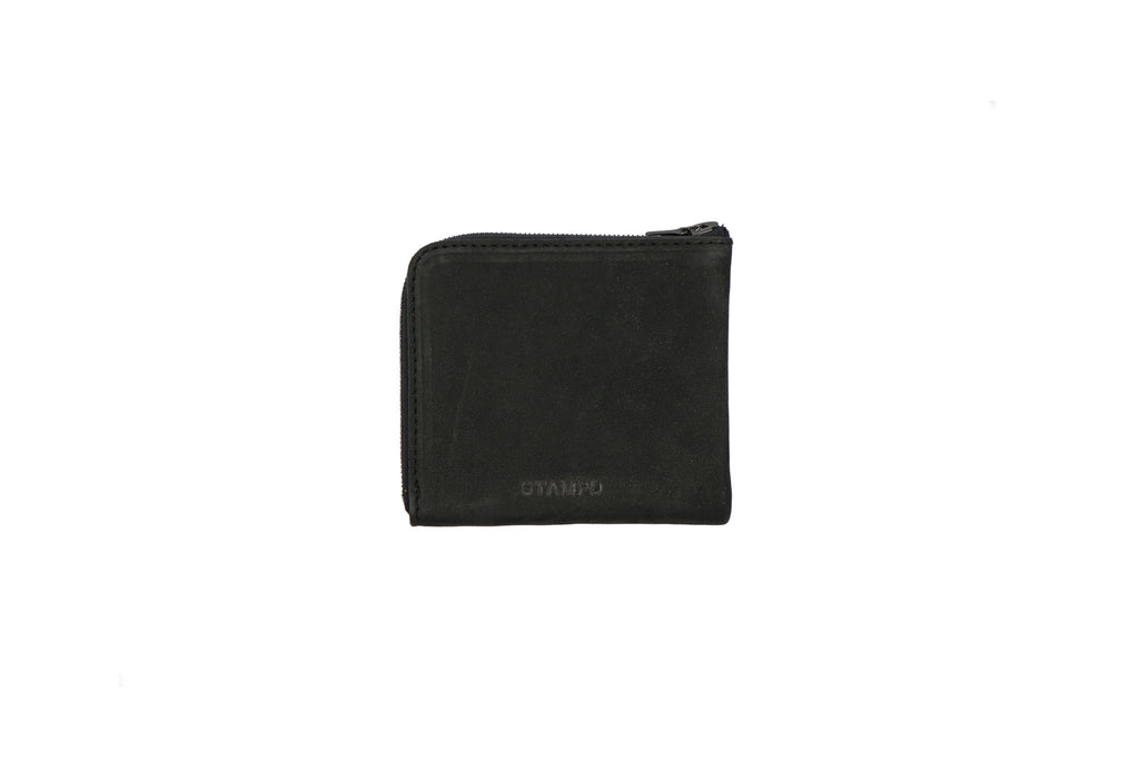 LEATHER MATTE BLACK ZIP WALLET