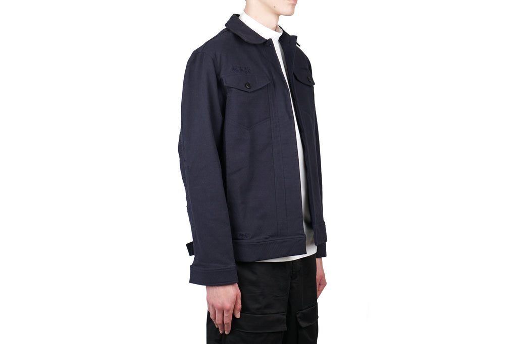 "RAW EDGE EMBROIDERY WORK JACKET ""MIDNIGHT NAVY"""