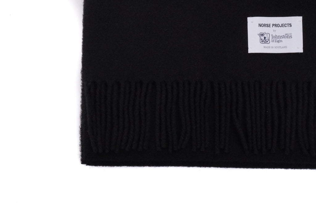 "x JOHNSTONS LAMBSWOOL SCARF ""BLACK"""