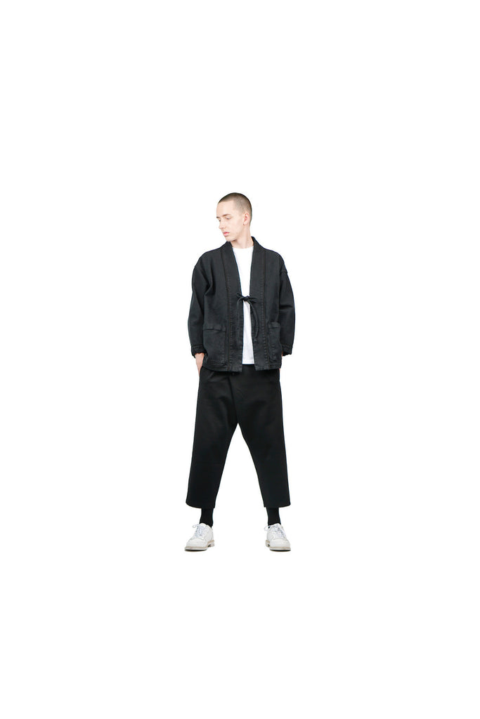 "LINEN HAORI JACKET ""BLACK"""