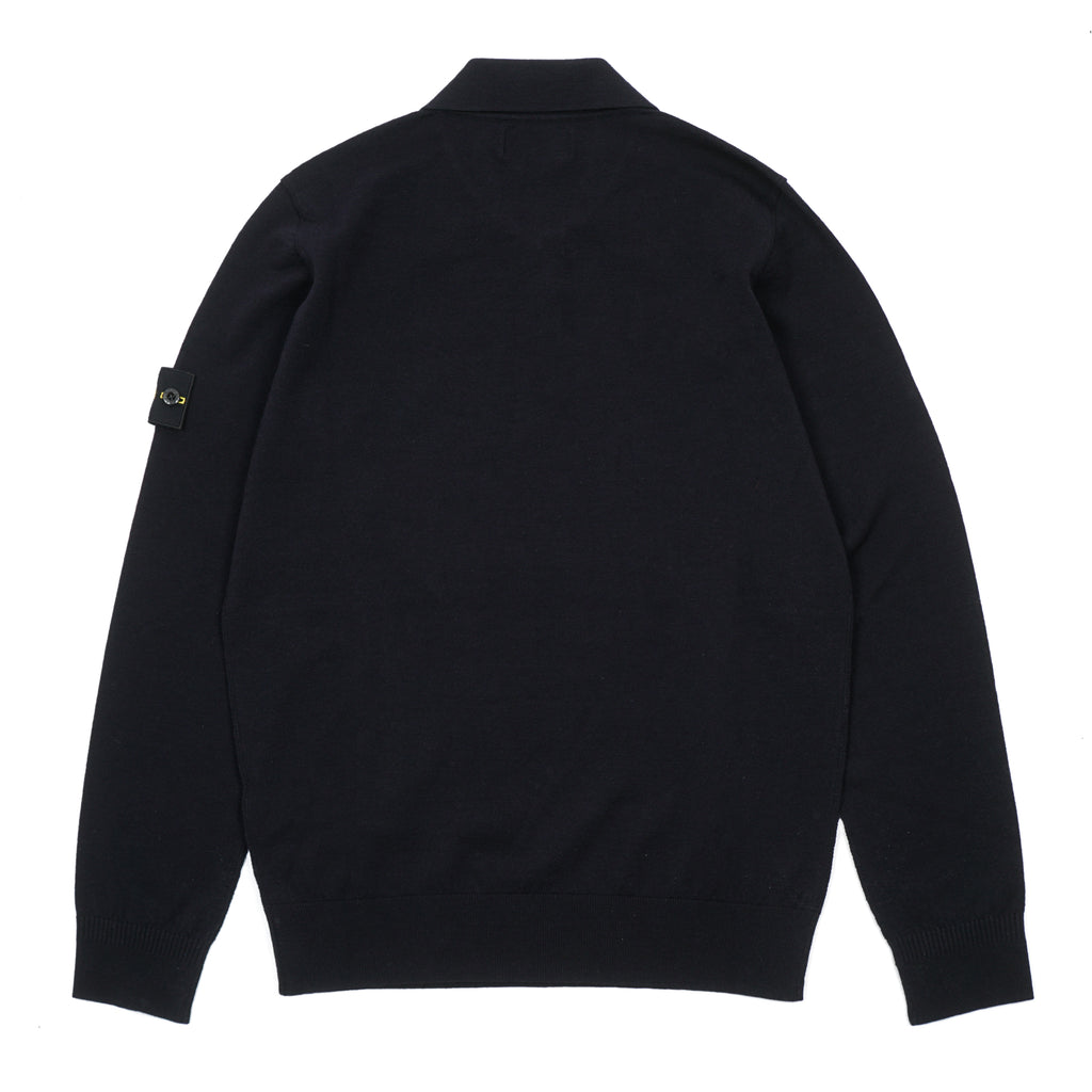 STRETCH WOOL KNIT POLO SWEATER
