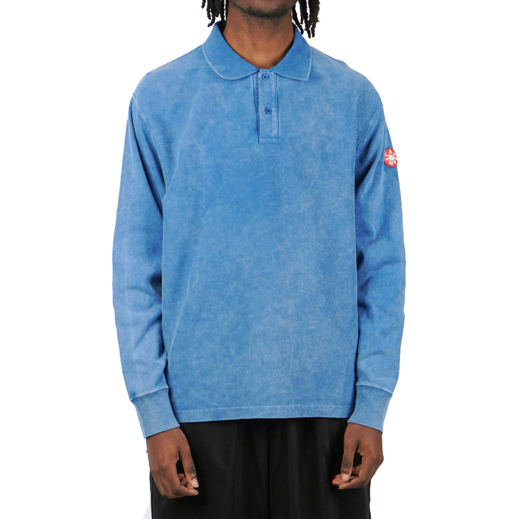 BLEACHED RIB LONG SLEEVE POLO SHIRTS