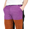 "COLORBLOCK CORD PANT ""PURPLE/BROWN/BLACK"""