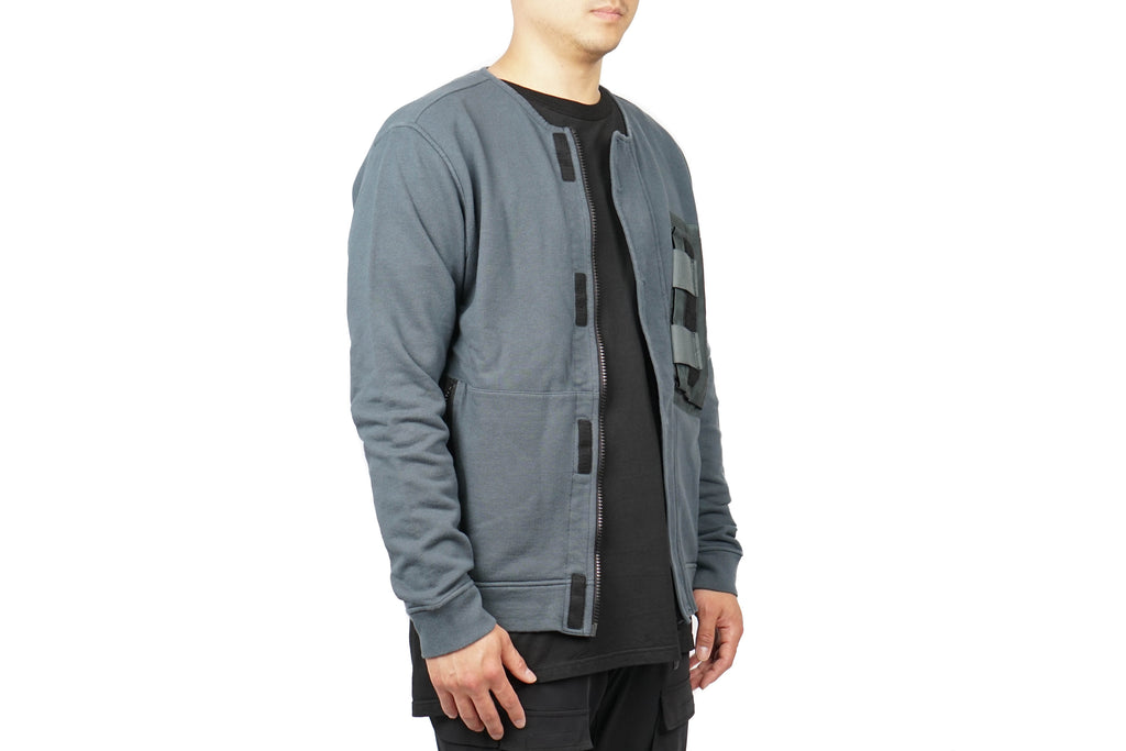 CREWNECK FULL ZIP COTTON SWEARSHIRT