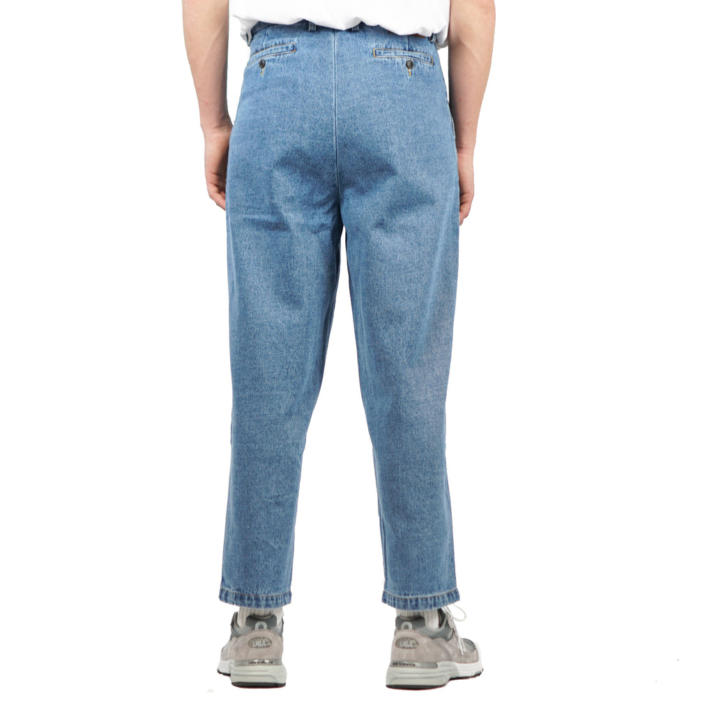 "SINGLE PLEAT DENIM PANT ""STONE WASH INDIGO"""