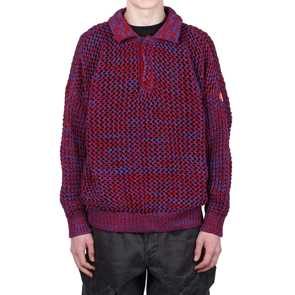 LOOSE WAFFLE COLLARED KNIT