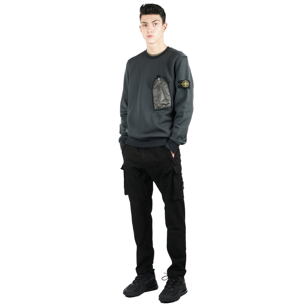 NYLON COTTON FLEECE GARMENT DYED POCKET CREW