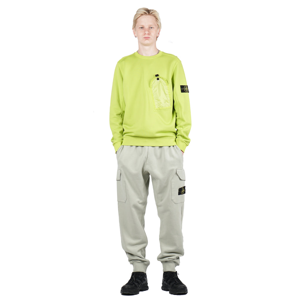 NYLON COTTON FLEECE GARMENT DYED POCKET CREW PISTACHIO