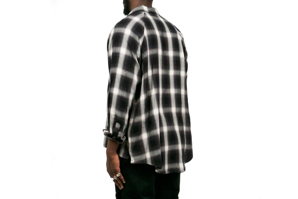 "RAGLAN FLANNEL ""BLACK/WHITE SHADOW PLAID"""
