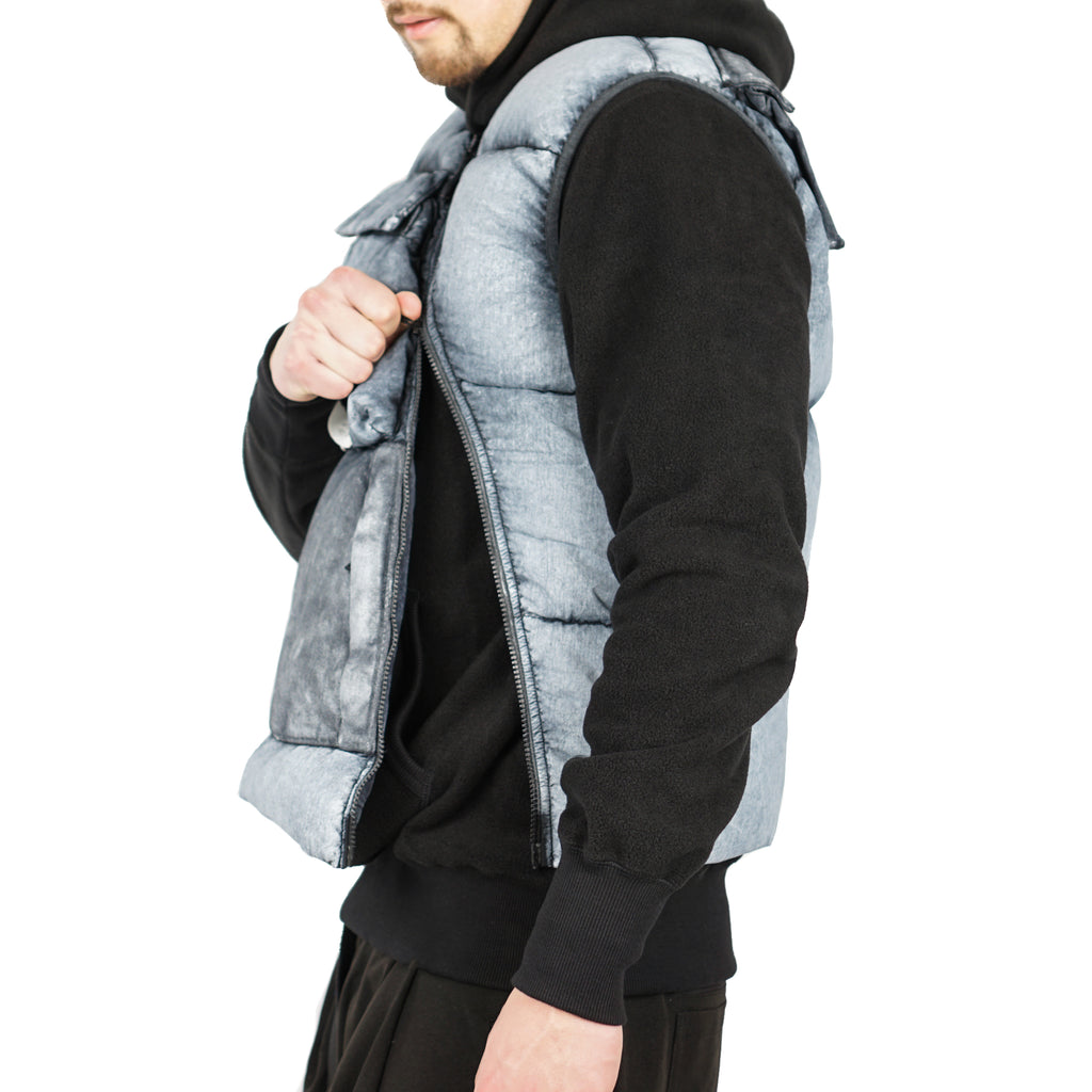 TELA NYLON DOWN VEST WITH DUST COLOUR FROST FINISH
