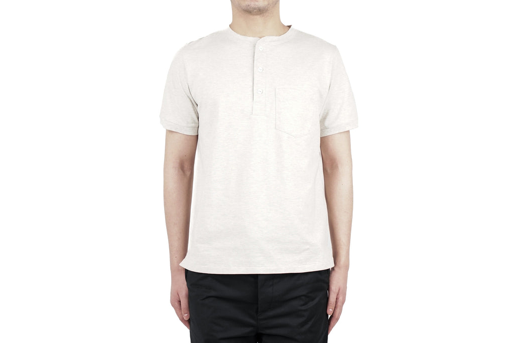 "HEAVY GAUGE HENLEY NECK TEE ""OATMEAL"""