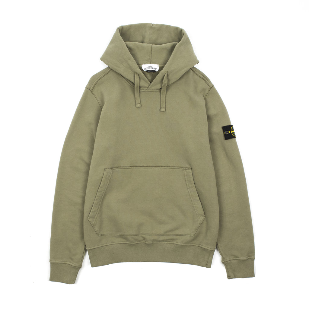 "GARMENT DYED HOODED SWEATSHIRT IN BRUSHED COTTON FLEECE ""OLIVE"""