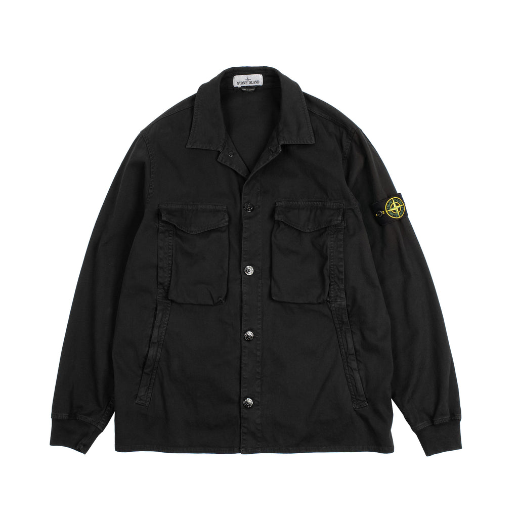 GARMENT DYED OVERSHIRT IN STRETCH TEXTURE COTTON