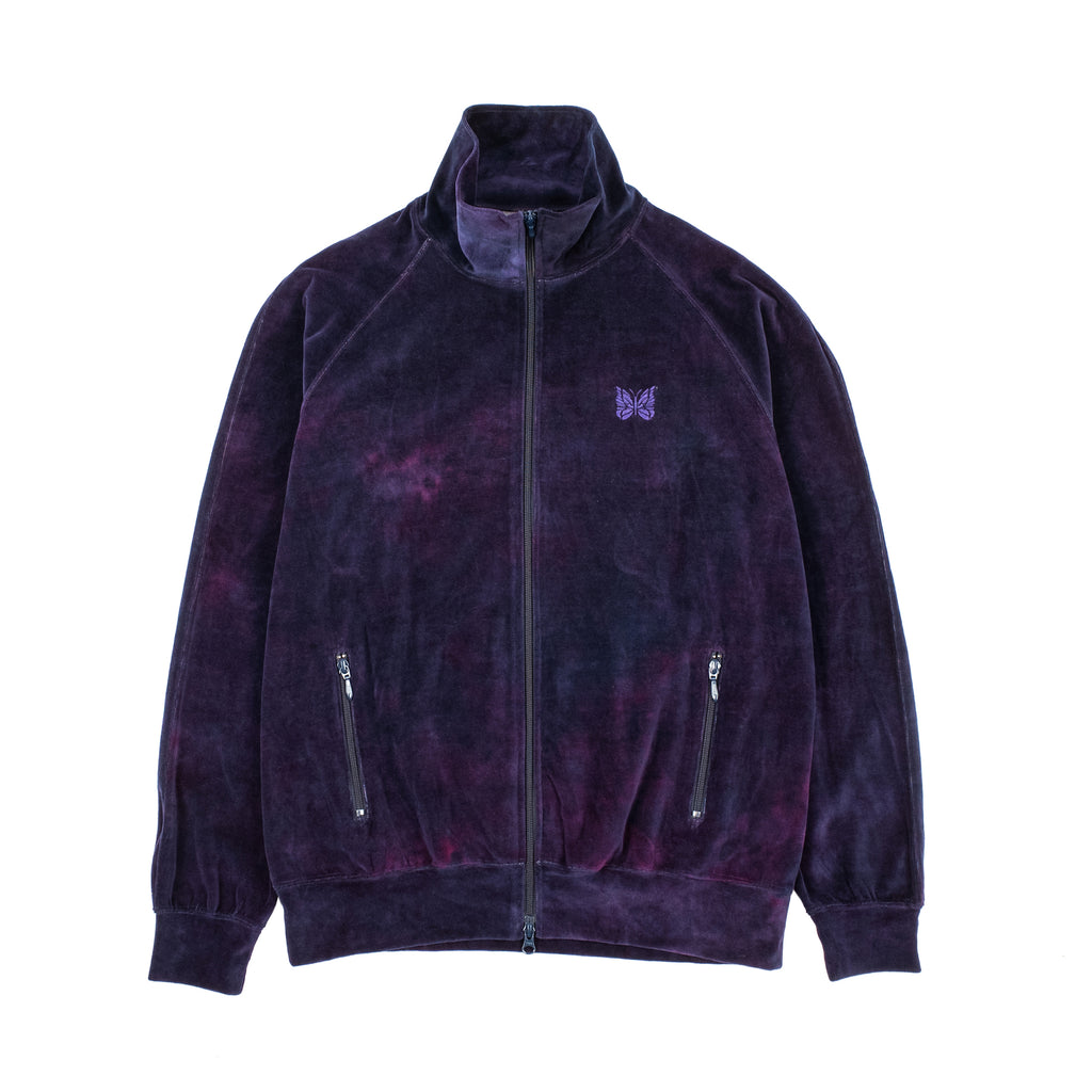 "POLY VELOUR TRACK JACKET ""UNEVEN DYE NAVY"""