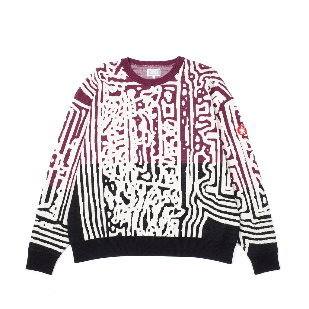 "AT THE DOOR LINKED KNIT ""BURGUNDY/BLACK"""