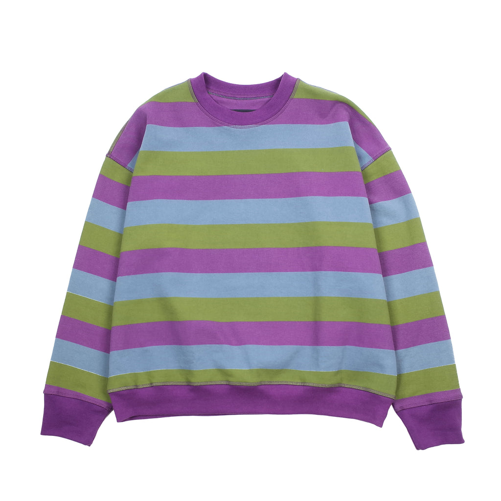 "STRIPE ICON SWEATSHIRT ""PURPLE/GREEN/BLUE"""
