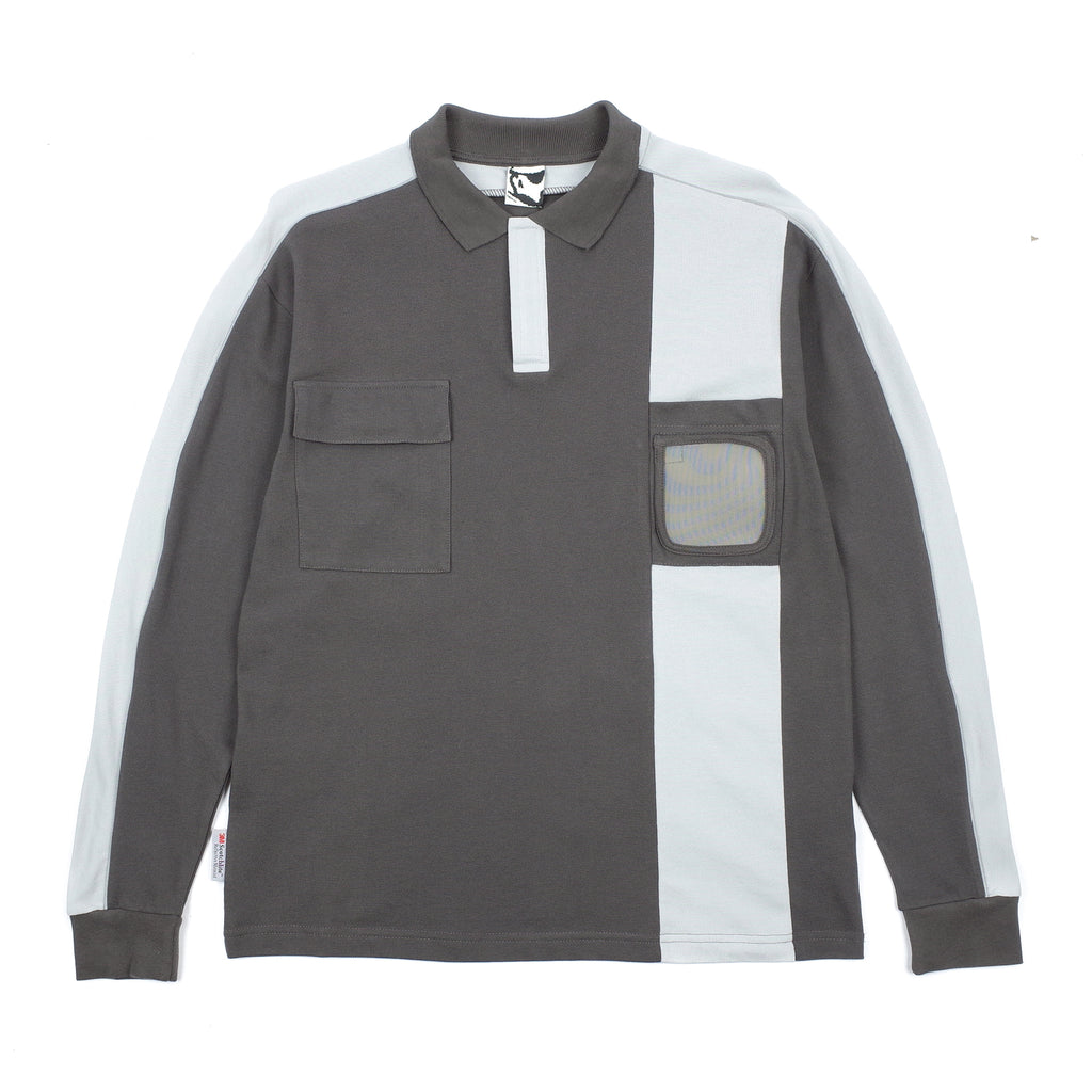 "BADGE HOLDER LONG SLEEVE 3M POLO SHIRT ""GREY"""
