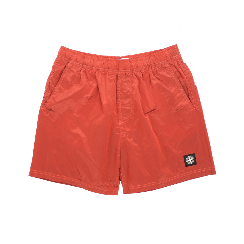 "NYLON METAL SWIM SHORTS ""LOBSTER RED"""