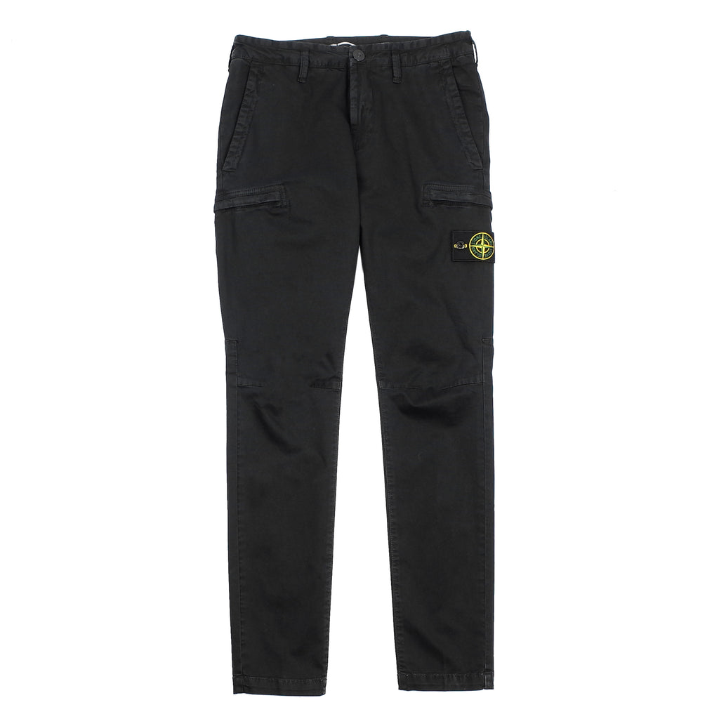 "GARMENT DYED ZIPPERED CARGO PANTS ""BLACK"""