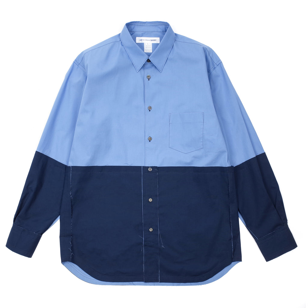 "COLOUR BLOCK PANEL BUTTON UP SHIRT ""BLUE"""