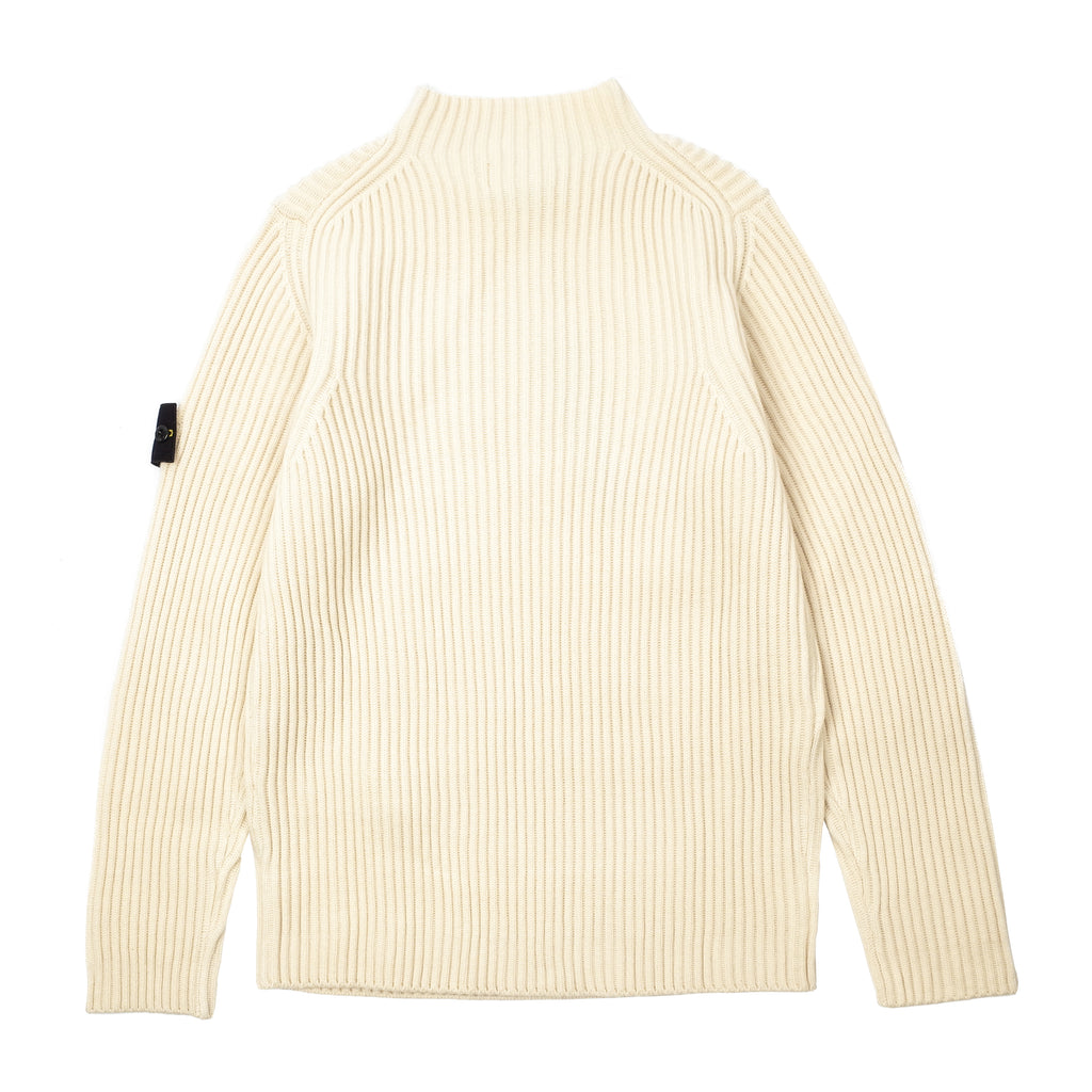 RIBBED WOOL MOCK NECK SWEATER