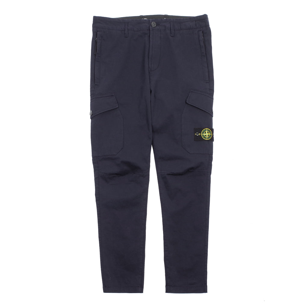 "STRETCH COTTON GABARDINE CARGO PANTS ""NAVY BLUE"""