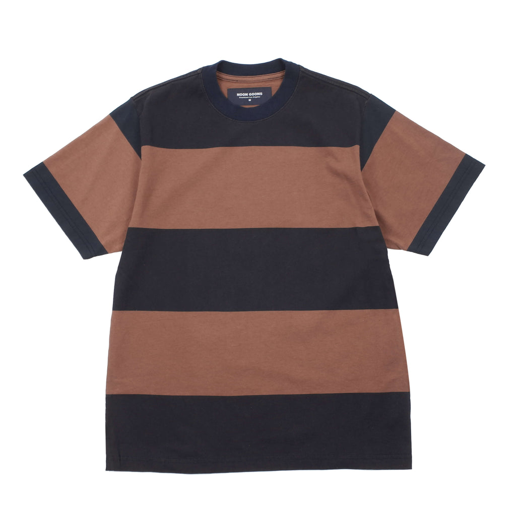 "BIG STRIPE T-SHIRT ""NAVY/BROWN"""