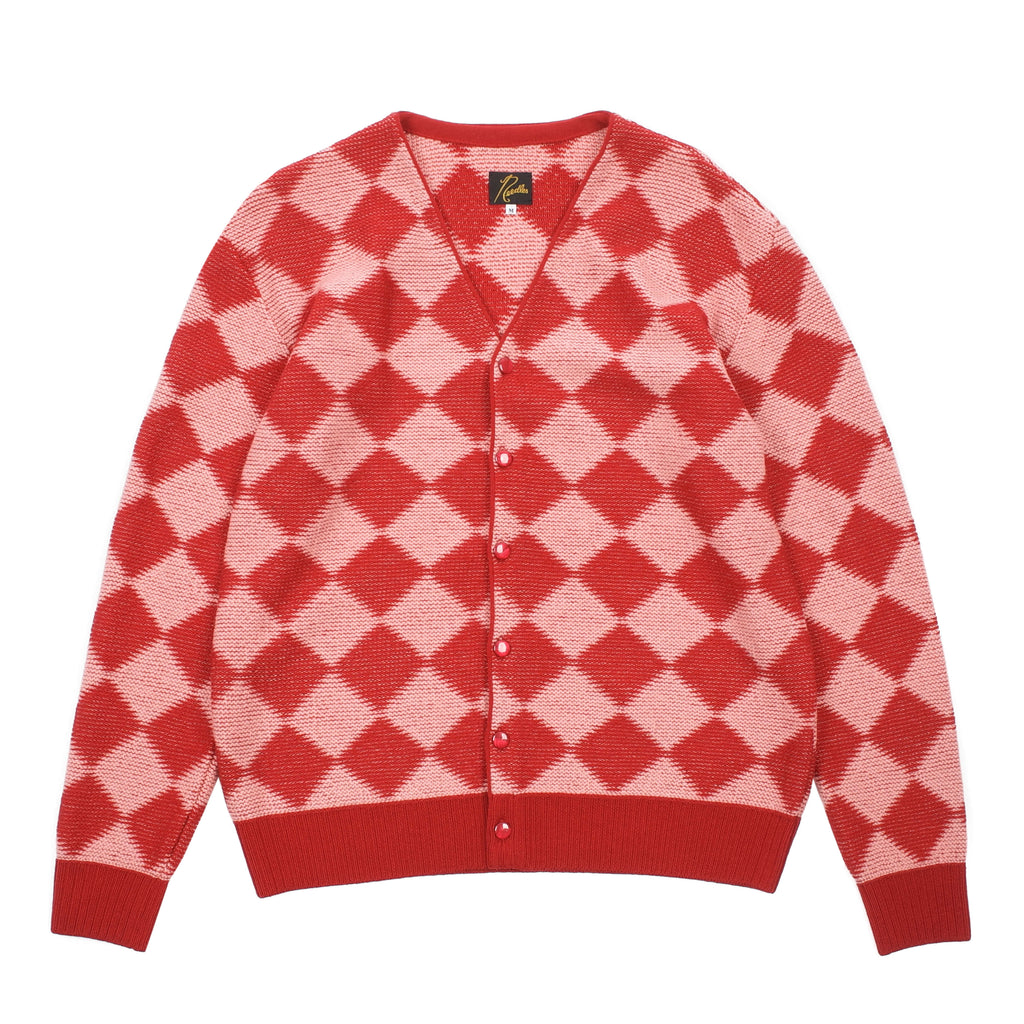 "CHECKERED V NECK CARDIGAN ""RED"""