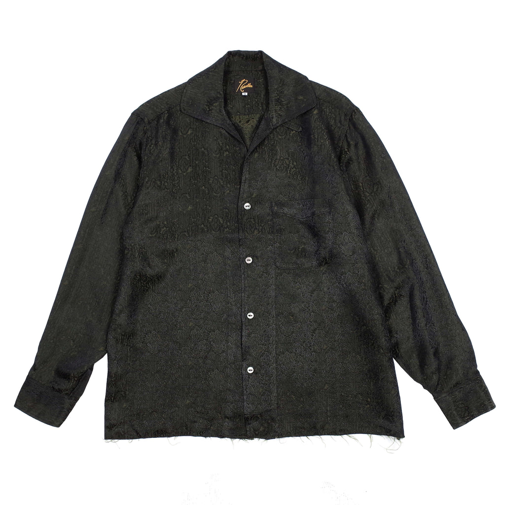 "DAMASK JACQUARD CUT OFF BOTTOM ITALIAN COLLAR SHIRT ""GREEN"""